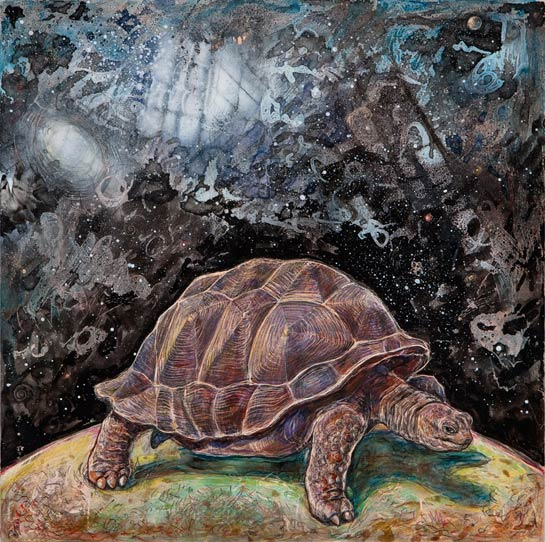 <em>Tortoise (Heaven and Earth)</em>, 2010, Mixed Media/Clayboard, 12 x 12""