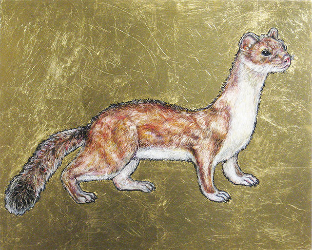 <em>Long-Tailed Weasel</em>, 2015, Mixed Media/Panel, 16 x 20""