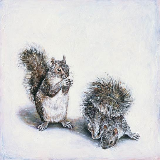 <em>Gray Squirrels</em>, 1999, Oil/Panel, 24 x 24""