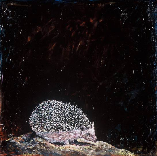 <em>Hedgehog</em>, 1999, Oil/Panel, 24 x 24""