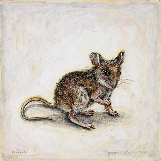 <em>Meadow Mouse</em>, 2009, Mixed Media/Clayboard, 12 x 12""