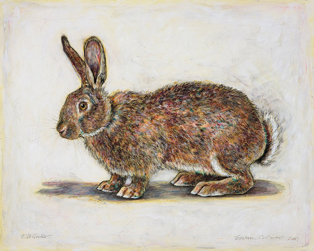 <em>Eastern Cottontail</em>, 2009, Mixed Media/Clayboard, 16 x 20""