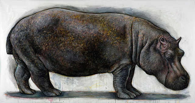 <em>Hippopotamus</em>, 2008, Mixed Media/Drafting Film, 42 x 80""