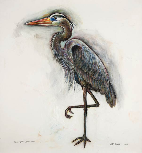 <em>Great Blue Heron</em>, 2007, Mixed Media/Drafting Film, 42 x 42""