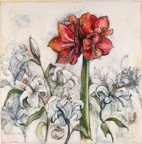 <em>Red Amaryllis and White Lilies</em>, 2004, Mixed Media/Drafting Film, 32 x 32""