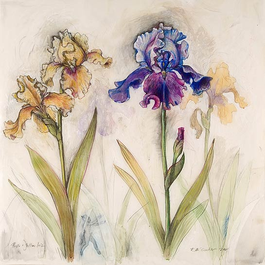 <em>Irise</em>s, 2004, Mixed Media/Drafting Film, 40 x 40""