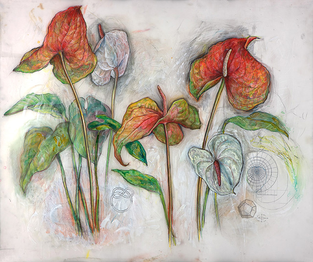 <em>Red and White Anthurium (Sacred Geometries)</em>, 2009, Mixed Media/Drafting Film, 36 x 42""