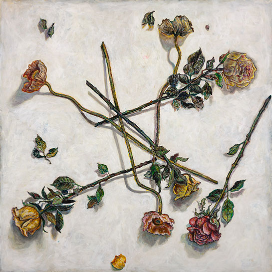 <em>Strewn Flowers</em>, 2014, Mixed Media/Clayboard, 30 x 30""