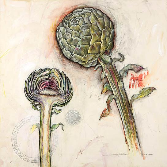 <em>Artichoke (Sacred Geometries)</em>, 2008, Mixed Media/Drafting Film, 30 x 30""