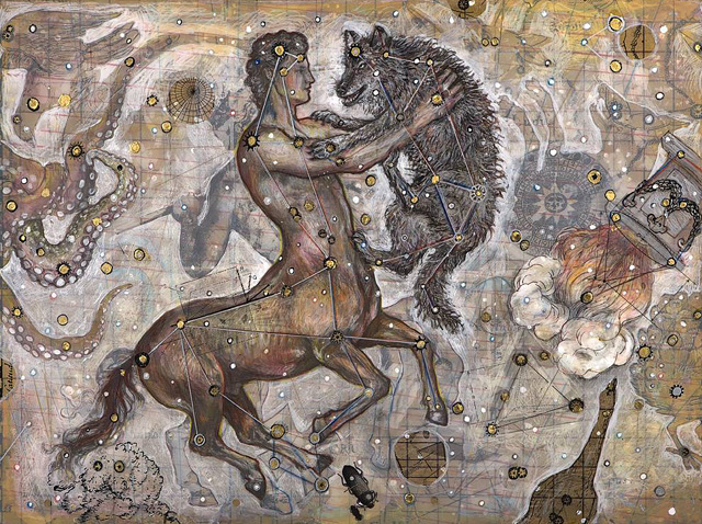 Centaur and Wolf, 2007, Mixed Media/Panel, 18 x 24&quot