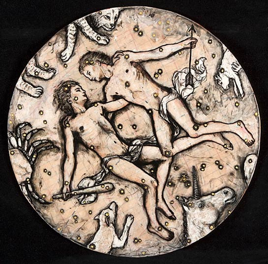 Castor and Pollux, 2005, Mixed Media/Panel, 26&quot diameter