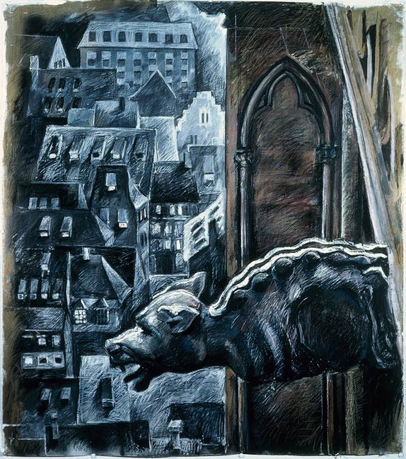 Gargoyle VI, 1987, Mixed Media/Paper, 48 x 42""