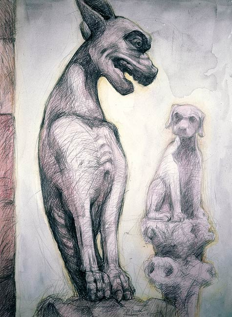 Gargoyle IV, 1985, Pencil and Watercolor/Paper, 30 x 22""