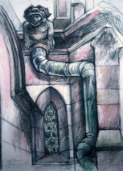 Gargoyle III, 1985, Pencil and Watercolor/Paper, 30 x 22""