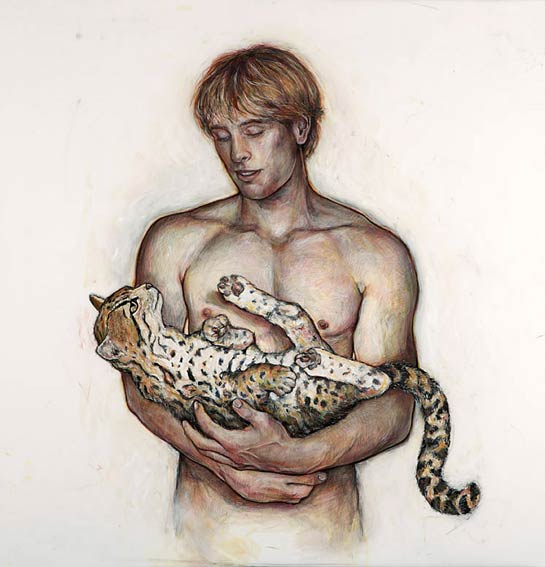 Portage: Young Man with Ocelot, 2006, Mixed Media/Drafting Film, 40 x 40&quot