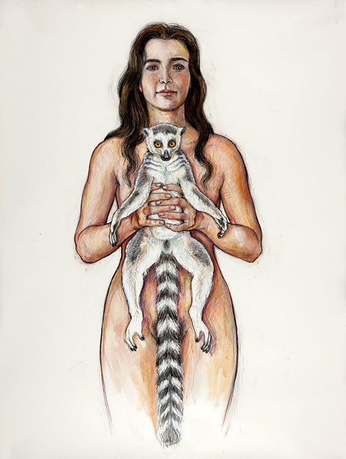 Portage: Girl with Lemur, 2014, Ink, Gouache, Acrylic, Colored Pencil, Graphite/Drafting Film, 55 x 42&quot