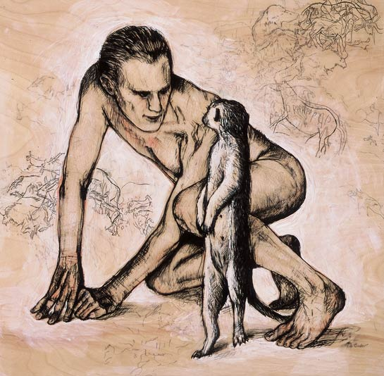 Encounter: Man and Meerkat, 2002, Mixed Media/Panel, 24 x 24&quot