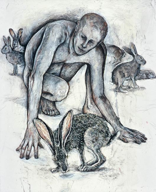 Man with Rabbits, 2000, Mixed Media/Drafting Film, 52 x 41&quot