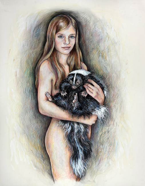 Portage: Young Girl with Large Skunk, 2010, Mixed Media/Drafting Film, 42 x 34&quot