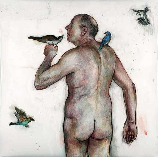 Man with Birds (St. Francis), 2006, Mixed Media/Drafting Film, 40 x 40&quot