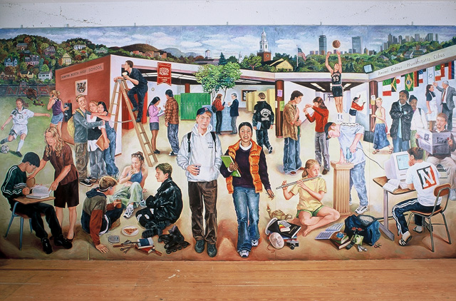 Newton North High School Millennial Mural, 2000, Oil/Canvas on Panel, 10 x 20'
