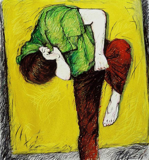 <em>Please Don't Go #1</em>, 1985, Mixed Media/Paper, 45 x 42.5""