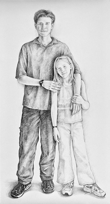 Dan and Lily, 2000, Pencil on Paper, 72 x 42""
