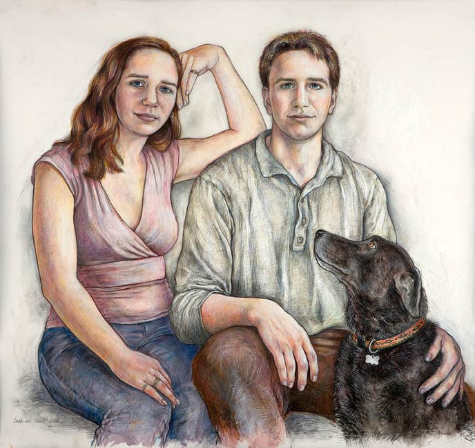 Leah and David with Mo, 2008, Colored Pencil & Ink/Drafting Film, 42 x 45""