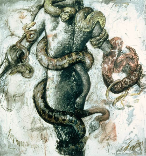 Snake Goddess, 1995, Mixed Media/Drafing Film, 48 x 42""