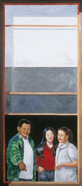 Three Kids (after school), 2002, Acrylic/Aluminum Panel, 9 x 6'